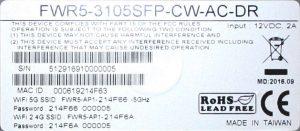 CTS FWR5-3105 langattoman verkon salasana