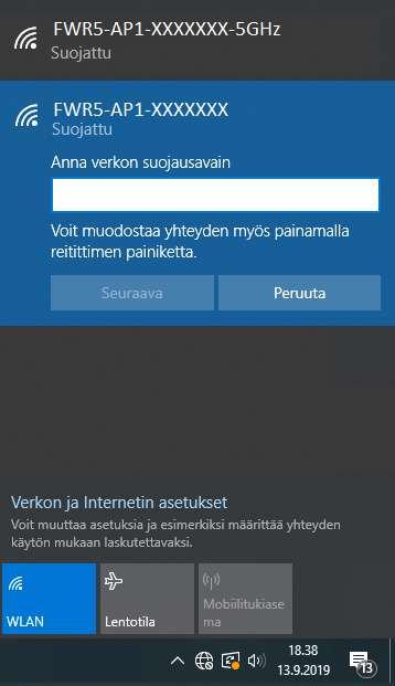 KUVA 9. Anna Password (salasana) ja klikkaa seuraava. Muista: Isot kirjaimet isona, ei välilyöntiä.